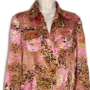 Cache Y-neck Silk Blouse Top Women Size 8 Pink